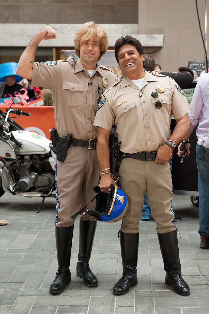 CHiPs Carson Daly and Erik Estrada donned CHiPs outfits.