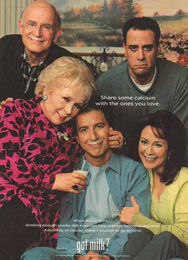 The cast of Everybody Loves Raymond grouped together for an ad.