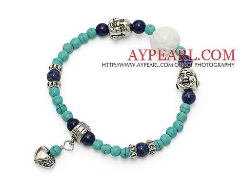 fashion round green turquoise lapis and tibet silver buddhu head heart charm bracelet