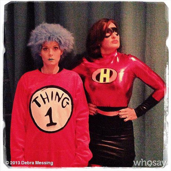 Thing 1 and Elastigirl Debra Messing was inspired by Dr. Seuss while pal Mariska Hargitay went with a classic look from The Incredibles. Source: Debra Messing on WhoSay