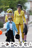 Julie Bowen donned a costume to go collect candy in LA with her son.