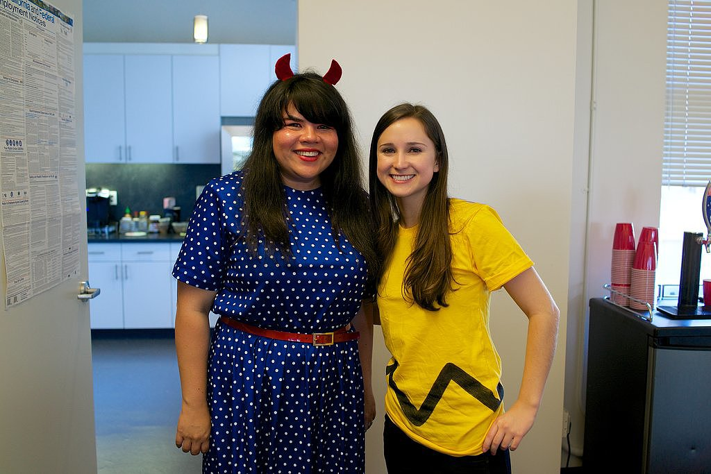 It's Charlie Brown, aka developer Hannah Krier, along with senior product manager Sabrina Eldredge. Source: graceandjason.com