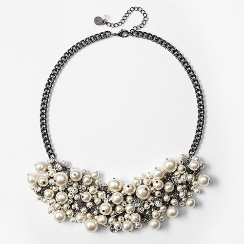 Simply vera vera wang jet simulated pearl & simulated crystal cluster bib necklace