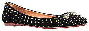 Jeffrey Campbell The Surya Lion Flat in Black and Gold