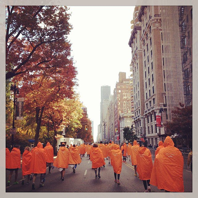 It was a sea of marathon orange as finished runners filled the city in their space blankets. Source: Instagram user fadge