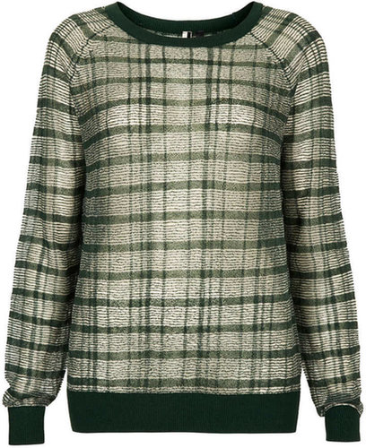 Knitted Sheer Check Jumper