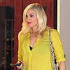 Pregnant Gwen Stefani's Baby Bump in Yellow Dress