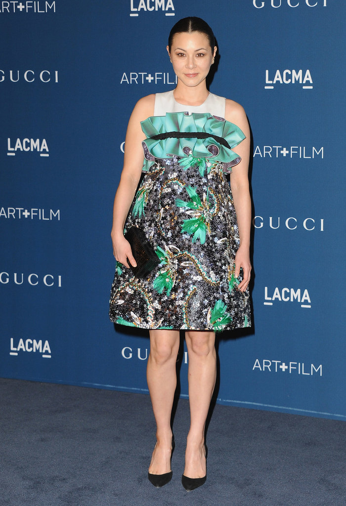At the Art + Film Gala, China Chow pumped up the volume with a ruffled cocktail dress.