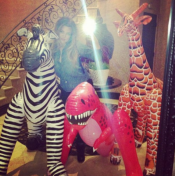 We're loving the prints Khloé Kardashian's friends were wearing. Source: Instagram user khloekardashian