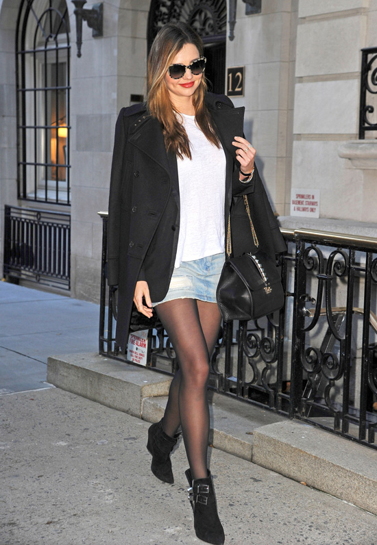 miranda kerr in a jean skirt and tights popsugar