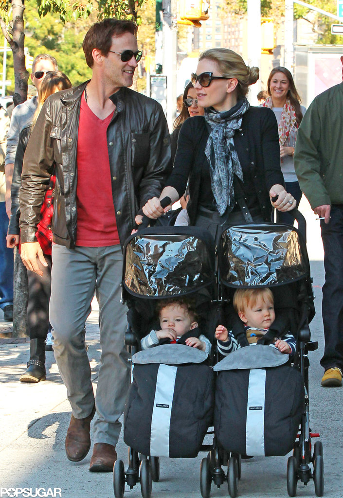 Anna Paquin and Stephen Moyer strolled through NYC with their twins on Saturday.