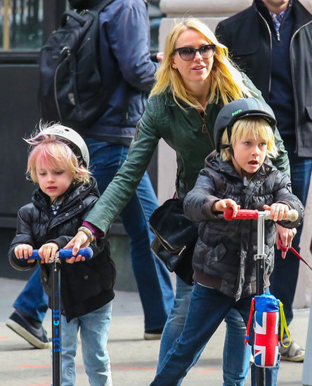 Naomi Watts whizzed through NYC with her boys.