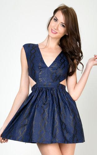 Snake Skin Cut Out Flared Dress | MakeMeChic.com