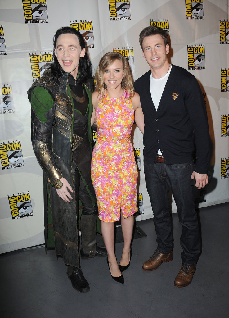 Tom Hiddleston dressed up as Loki to hang out with Scarlett Johansson and Chris Evans.