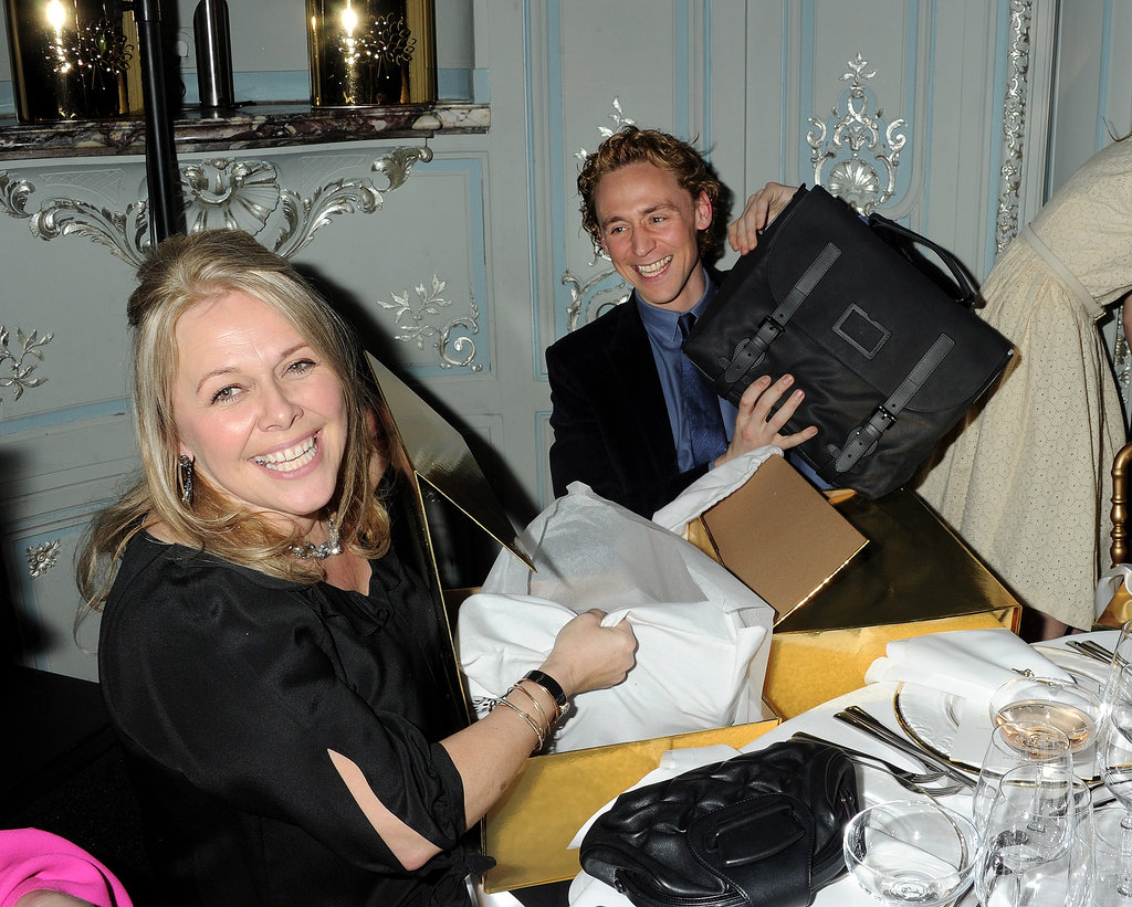 Tom Hiddleston was happy about his man-bag gift.