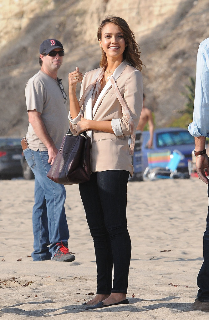 Jessica Alba stepped onto an LA beach on Tuesday to film more scenes for How to Make Love Like an Englishman.
