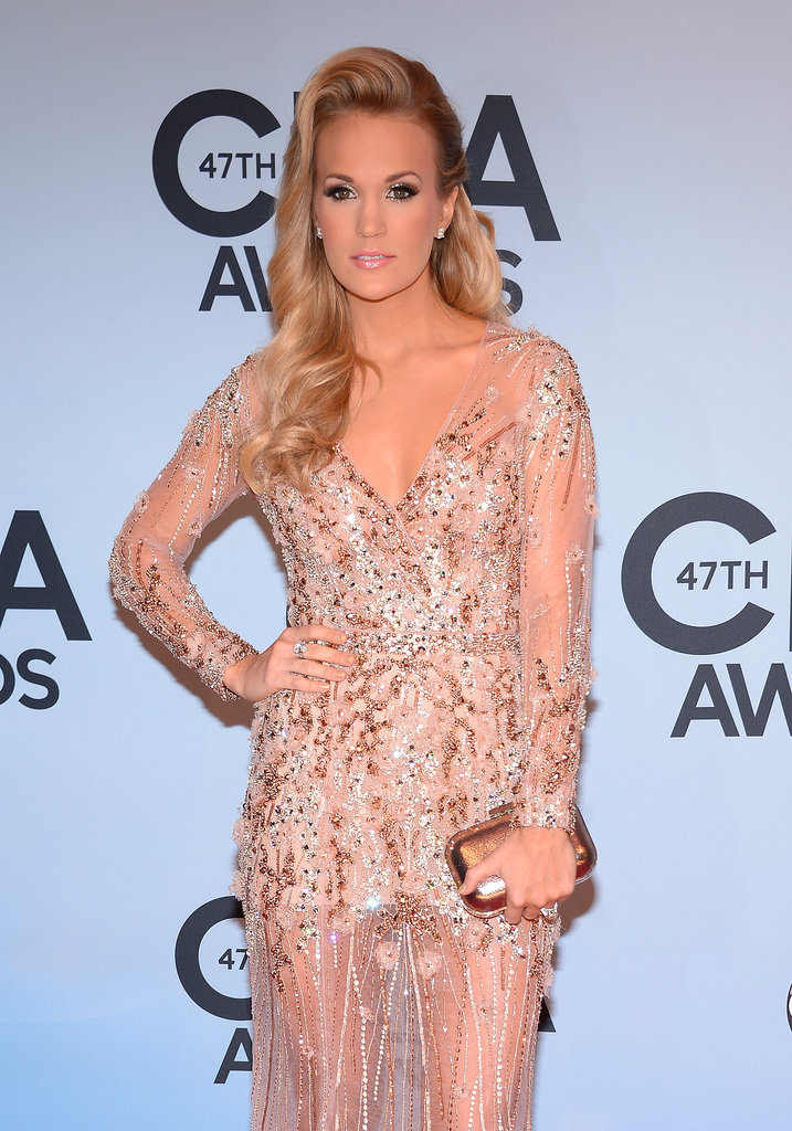 Carrie Underwood wore a sheer, beaded dress.