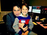 Zach Braff posed with his onscreen son while editing their film, Wish I Was Here. Source: Twitter user zachbraff