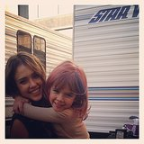 Jessica Alba gave her dressed-up daughter Honor Warren a big hug while on set. Source: Instagram user jessicaalba