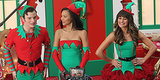Lea Michele Is Santa's Little Helper on the Set of Glee