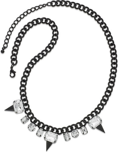 Material Girl Necklace, Matte Black-Tone Rhinestone Spike Statement Necklace