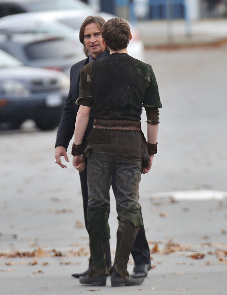 Robert Carlyle and Robbie Kay on the set of Once Upon a Time.