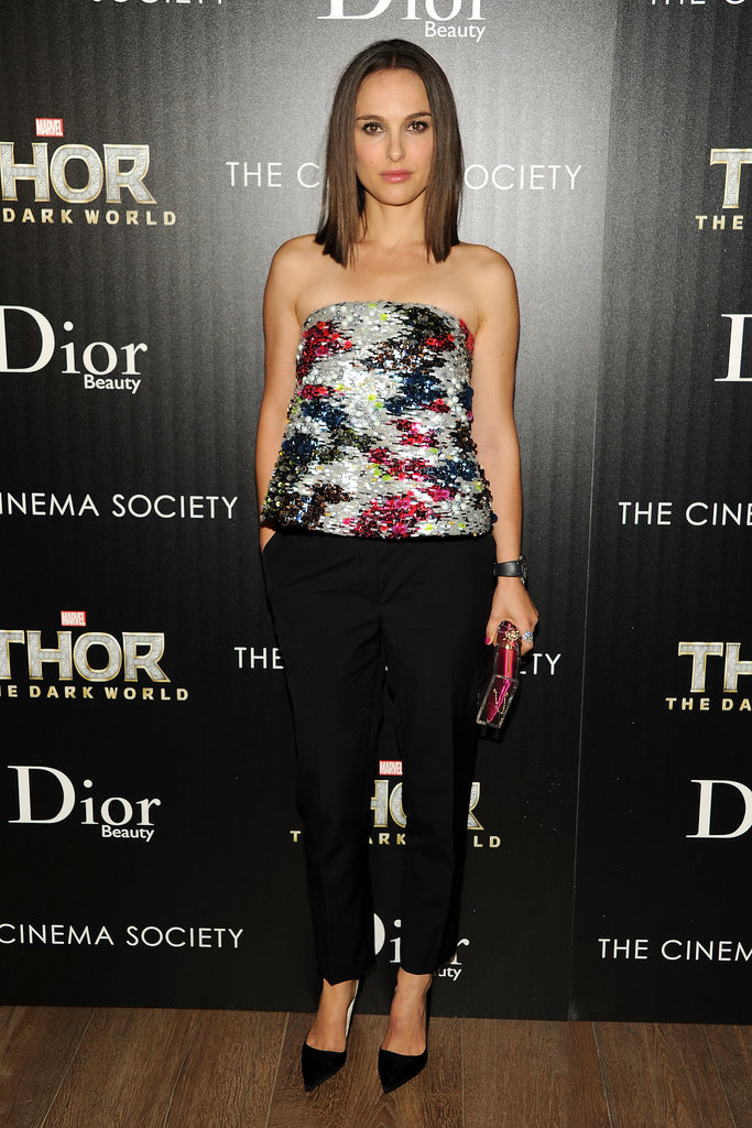 Natalie debuted a shimmering strapless top by Dior, which she styled with black pants and a pair of sleek heels, for a screening hosted by The Cinema Society and Dior Beauty in New York City. She complimented her look with diamonds from Harry Winston.