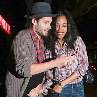 Zoe Saldana and Marco Perego With Their Dog in LA