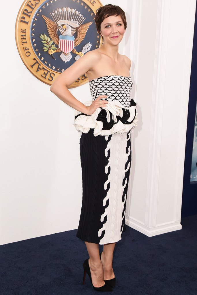 Maggie Gyllenhaal in Black and White Dior Top and Skirt
