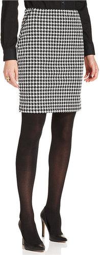 Debbie Morgan Petite Skirt, Houndstooth-Print Pleather-Trim Pencil
