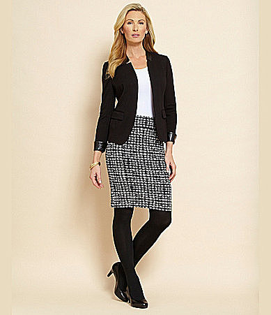 Investments Slimming Houndstooth Pencil Skirt