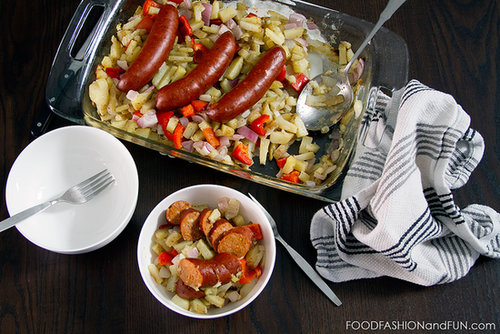 Let's Eat | Baked Sausages, Peppers and Onions