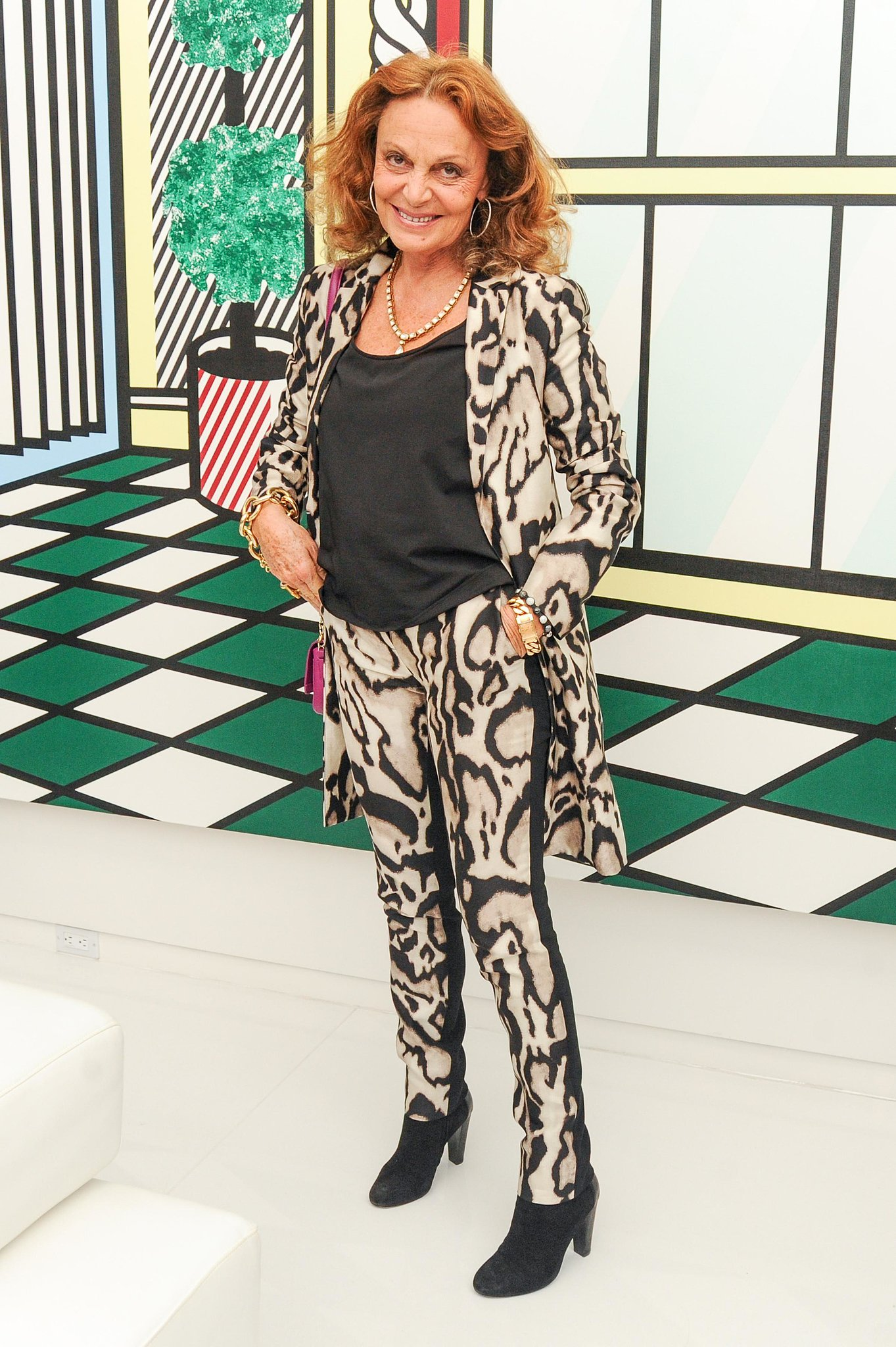 A fiercely dressed Diane von Furstenberg joined Lisa Perry for a party celebrating the latest inductees into the CFDA.