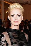 For the 2013 Met Gala's Punk: Chaos to Couture, Anne shocked everyone when she stepped out with her cropped hair bleached a bright shade of blonde. She also added a pop of color to her lids with shimmering purple eye shadow.