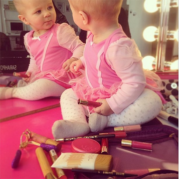 Celebrity stylist Sarah Potempa shared this adorable snap of her budding beauty lover. Source: Instagram user sarahpotempa
