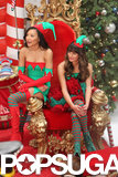 Lea Michele and Naya Rivera were decked out in elf costumes, complete with striped red and green stockings and pointy booties, on the set of Glee on Thursday.