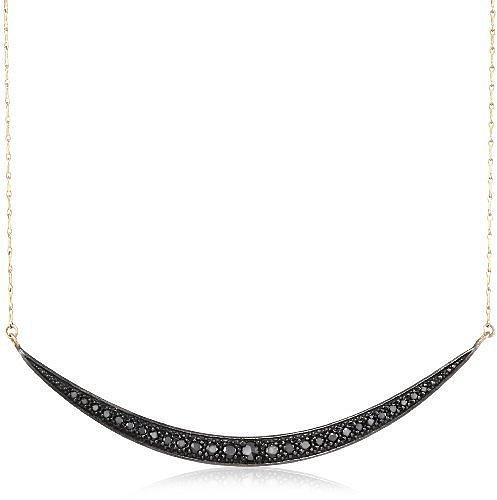 Mizuki 14Kt Charm Long Shadow Silver Crescent Diamond Chain Necklace (.58Ct)