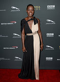 Lupita Nyong'o wore a colorblock dress to the BAFTA LA Jaguar Britannia Awards.