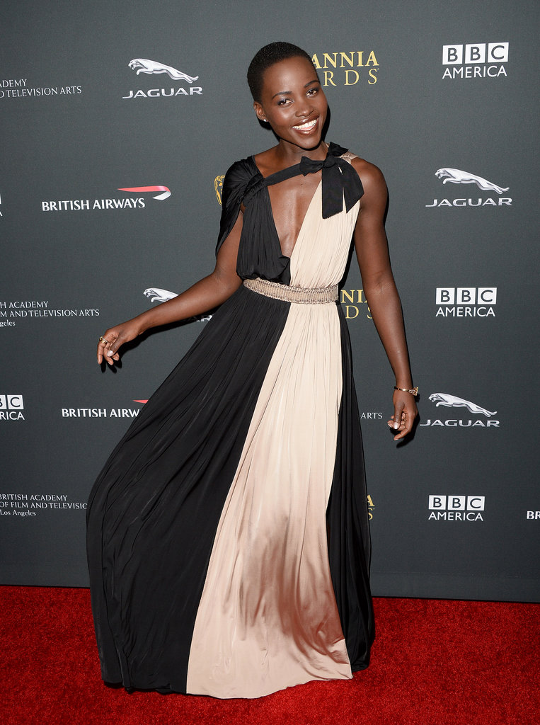 Lupita Nyong'o showed off her dress on the red carpet.