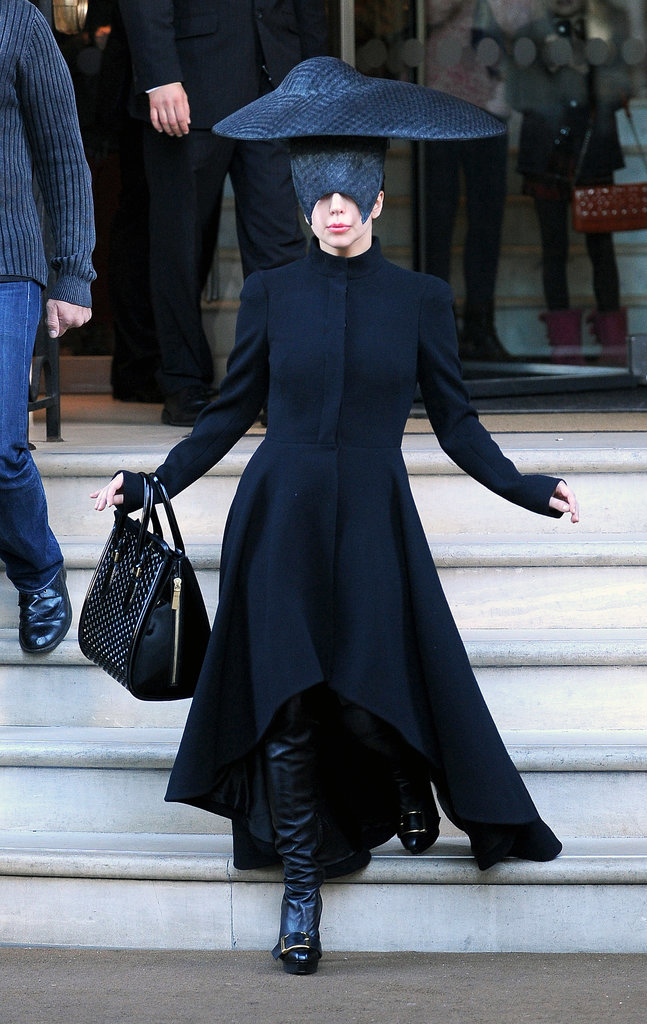 Lady gaga debuted a sculptural all-black look while out in London.