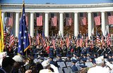 A military band played during the Veterans Day ceremony at Arlington National Cemetery.