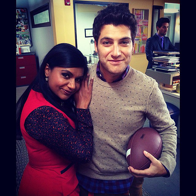 Adam Pally, who joined the cast this season as Dr. Peter Prentice, got caught playing football inside. Source: Instagram user mindykaling