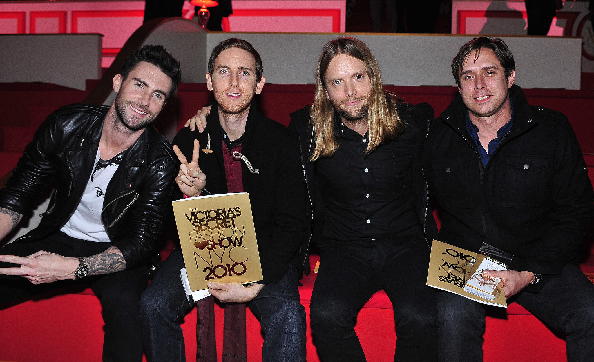 The guys of Maroon 5 were snapped in their seats before the show in 2010.