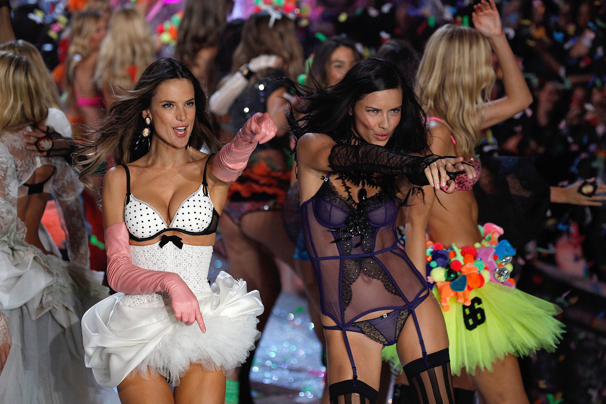 Alessandra Ambrosio and Adriana Lima celebrated the 2011 show.