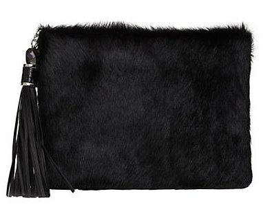 RAFE Celia Leather & Faux Fur Clutch ($225)