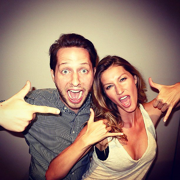 "Derek Blasberg got an ""appropriate Gisele greeting"" while hanging out with the supermodel. Source: Instagram user derekblasberg"