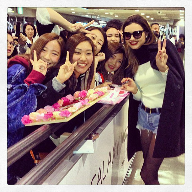 Miranda Kerr was greeted by a group of fans as she touched down in Tokyo. Source: Instagram user mirandakerr