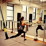 Alessandra Ambrosio showed off her pre-Victoria's Secret Fashion Show workout moves. Source: Instagram user alessandraambrosio