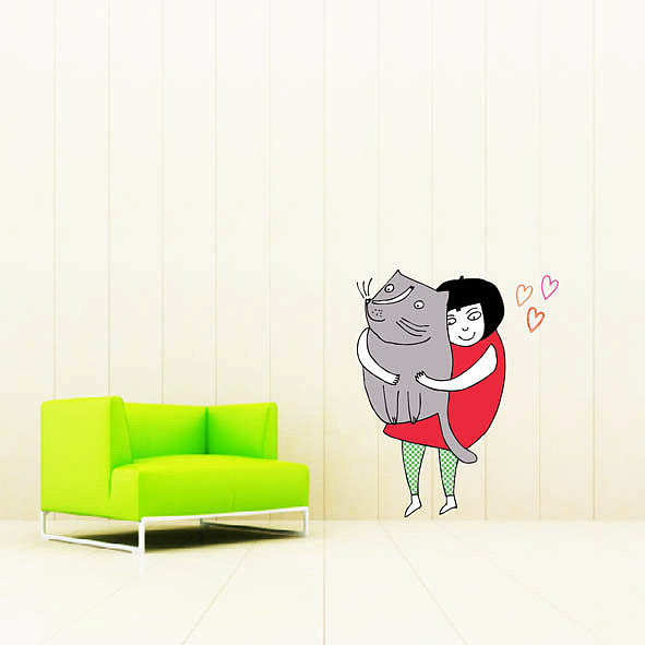 Cuddling Cat Wall Decal ($35)