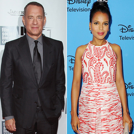 Tom Hanks: Everybody loves Tom Hanks. He seems trustworthy, and he'll make you laugh; all good reasons to keep him around in the arena. Based on his film résumé, he's also trained for some pretty intense experiences, including spending hours in a enclosed life boat with pirates in Captain Phillips and learning to survive all by himself in Castaway.  Kerry Washington: Before fighting to the death, Kerry Washington could train with her professional football-playing husband Nnamdi Asomugha. You know she'd be in good shape. And if she's learned anything from Scandal's Olivia Pope about manipulating people to get out of an impossible situation, she could be the last tribute standing.  — Annie Gabillet, news editor